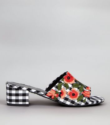 Black Gingham Floral Embroidered Mules