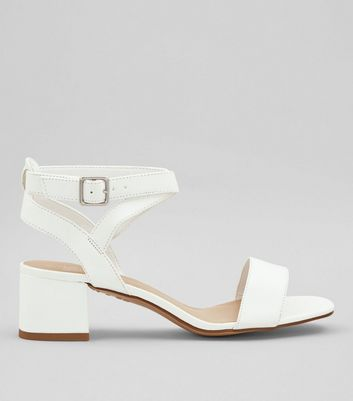 Teens White Low Block Heels