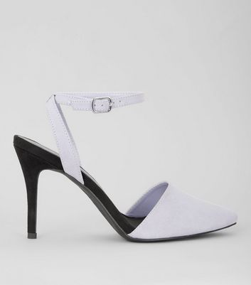 Lilac Suedette Colour Block Pointed Heels