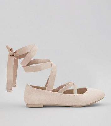 Teens Shell Pink Suedette Ankle Tie Ballet Pumps