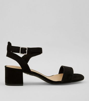 Teens Black Suedette Low Block Heels