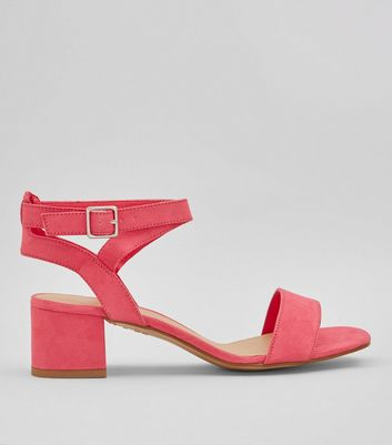 Teens Pink Suedette Low Block Heels
