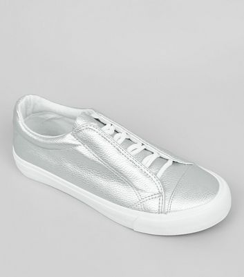 Teens Silver Concealed Lace Trainers