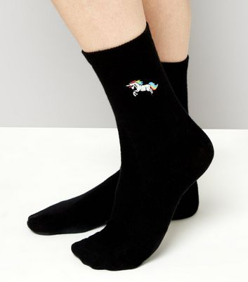 Black Unicorn Embroidered Socks