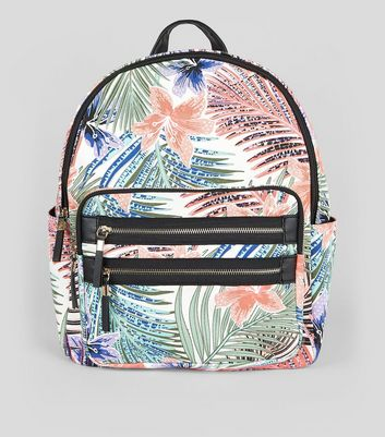 White Tropical Print Backpack
