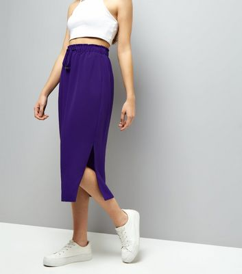 Purple Tie Waist Midi Skirt
