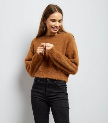 Brown Fluffy Cropped Jumper