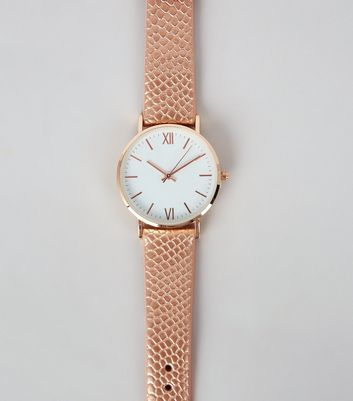 Rose Gold Croc Texture Strap Watch