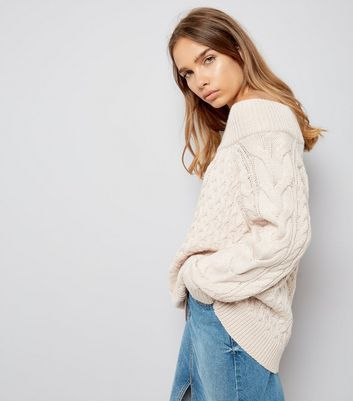 Shell Pink Cable Knit Bardot Neck Jumper