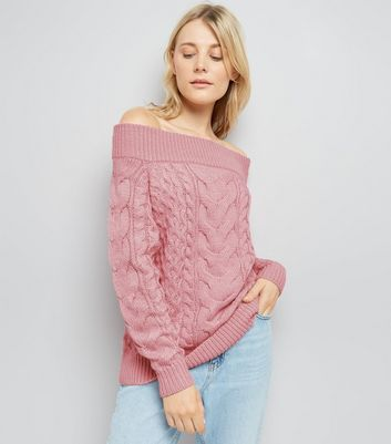 Pink Cable Knit Bardot Neck Jumper