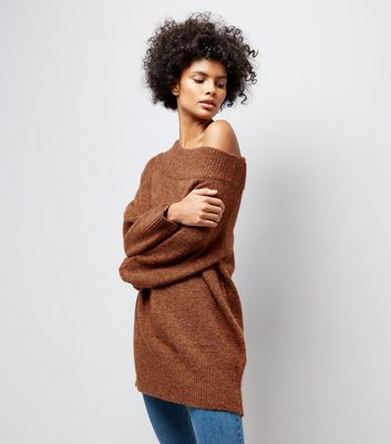 Brown Bardot Neck Longline Jumper