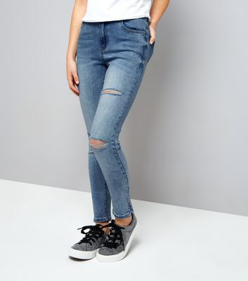 Teens Pale Blue Ripped Split Hem Skinny Jeans