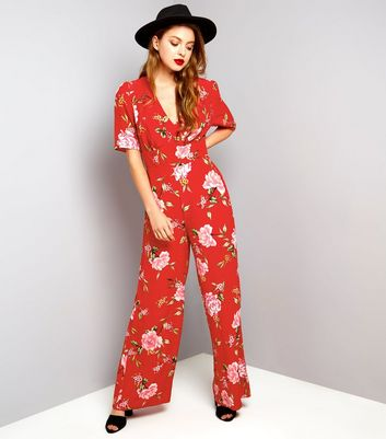 Red Floral Print Short Sleeve Jumpsuit
