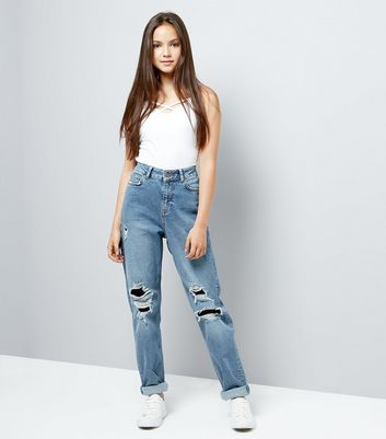 Teens Blue Ripped Fishnet Knee Mom Jeans