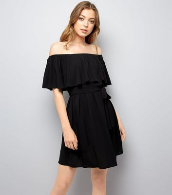 Black Frill Layered Bardot Neck Dress