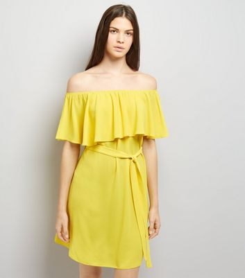 Yellow Frill Layered Bardot Neck Dress