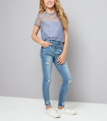 Teens Blue Pearl and Gem Detail Hem Skinny Jeans