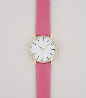 Bright Pink Leather-Look Watch