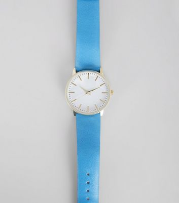 Bright Blue Metallic Face Watch
