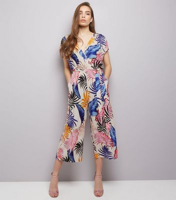 White Tropical Print Wrap Front Culotte Jumpsuit
