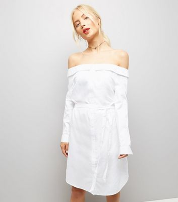 White Bardot Neck Shirt Dress