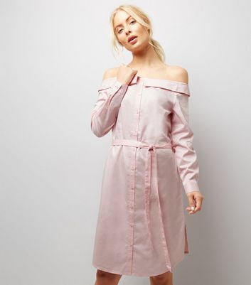 Shell Pink Bardot Neck Shirt Dress