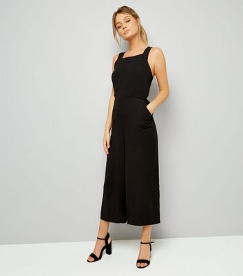 Black Wide Strap Tie Back Jumpsuit
