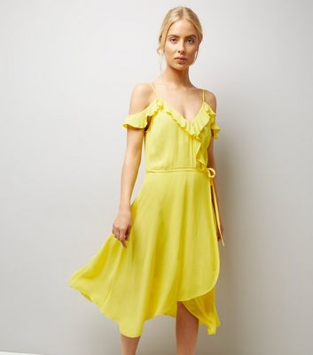 Yellow Frill Trim Wrap Front Midi Dress