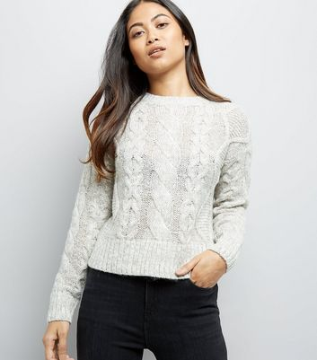Petite Grey Cable Knit Crew Neck Jumper