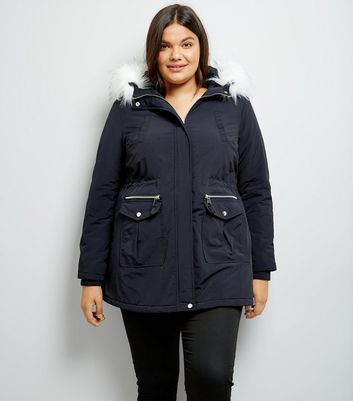 Curves Navy Faux Fur Trim Hooded Parka | New Look