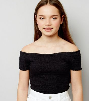 Teens Black Shirred Frill Edge Bardot Neck Top