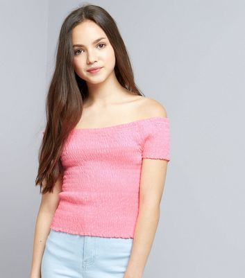Teens Pink Shirred Frill Edge Bardot Neck Top