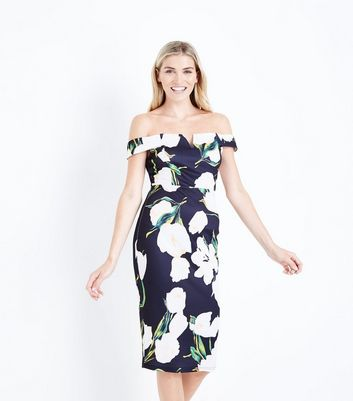 AX Paris Black Floral Print Bardot Neck Dress