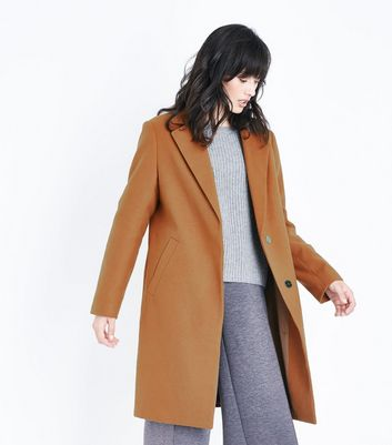 Tan Longline Collared Coat