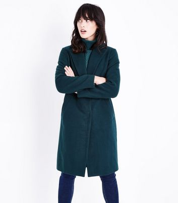 Green Longline Collared Coat