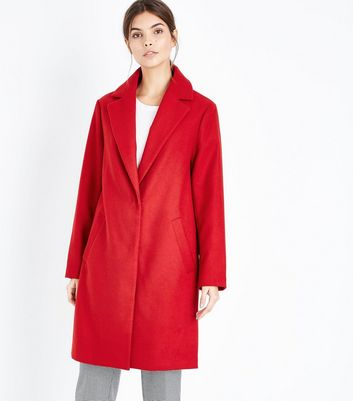Red Longline Collared Coat