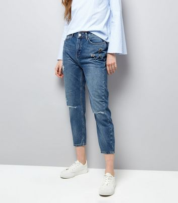 Blue Brooch Trim Ripped Knee Cropped Jeans
