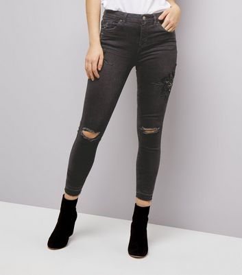 Black Beaded Floral Badge Ripped Skinny Jenna Jeans