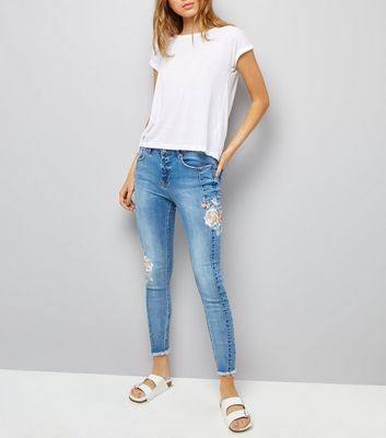 Blue Floral Embroidered Skinny Jeans