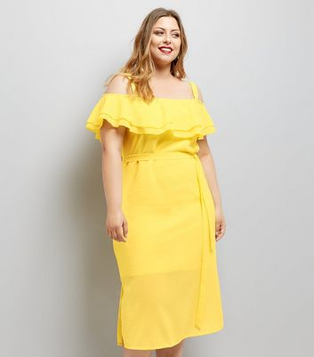 Curves Yellow Frill Trim Bardot Neck Midi Dress