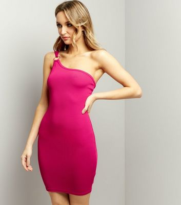 Bright Pink One Shoulder Ring Trim Bodycon Dress