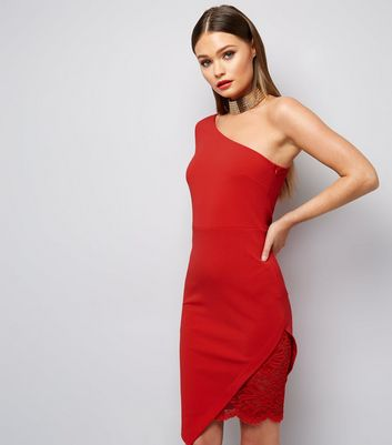 Red Lace Hem Off The Shoulder Bodycon Dress