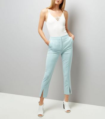 Mint Green Split Hem Trousers