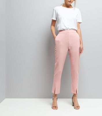 Mid Pink Split Front Trousers