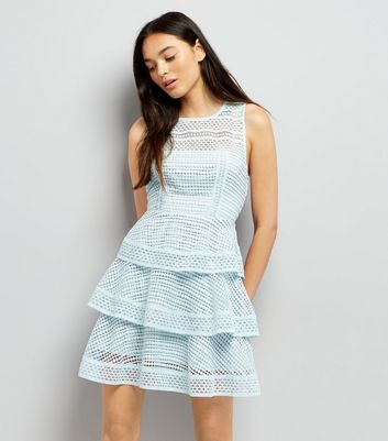 Pale Blue Premium Tiered Lace Dress