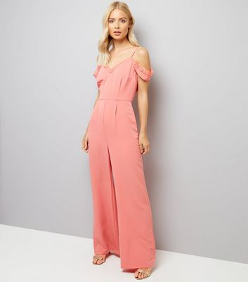 Coral Lace Trim Cold Shoulder Jumpsuit