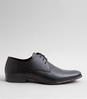 Black Leather Pointed Derby Shoes