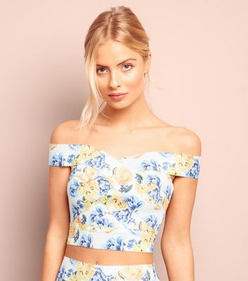 White Floral Print Bardot Neck Crop Top