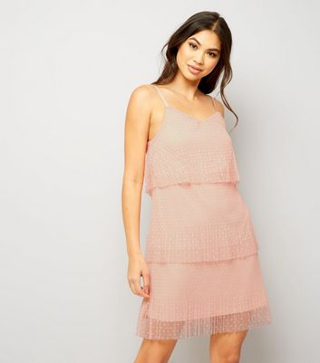 Orange Pleated Mesh Tiered Dress