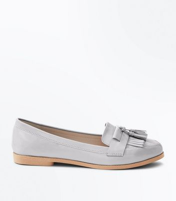 Grey Patent Fringe Front Loafers